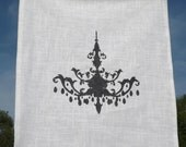 T Towel - Chandelier, 25L X 19W, Black Print on White Fabric
