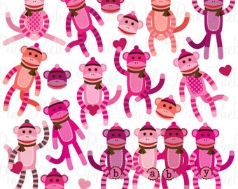Girl Baby Shower Sock Monkeys Clipart Clip Art Vectors, Great for Sock Monkey Baby Shower Invitations - Commercial and Personal Use