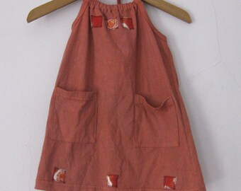 Hand Dyed Halter Dress Rust Brown Size 2T Cotton