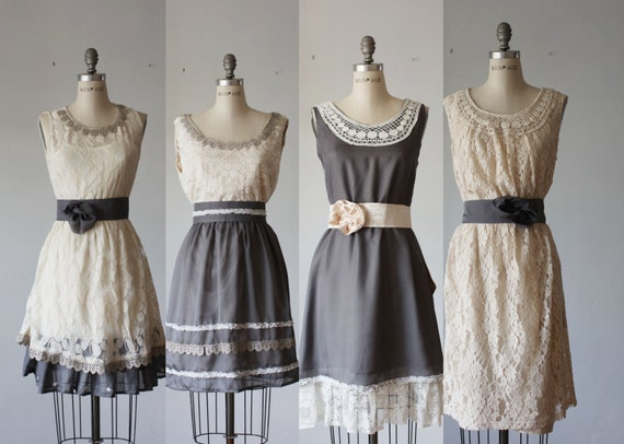 mismatched bridesmaid dresses / Bridesmaid / Romantic / gray /lace /vintage  / Fairy / Dreamy / Bridesmaid / Party / wedding / Bride