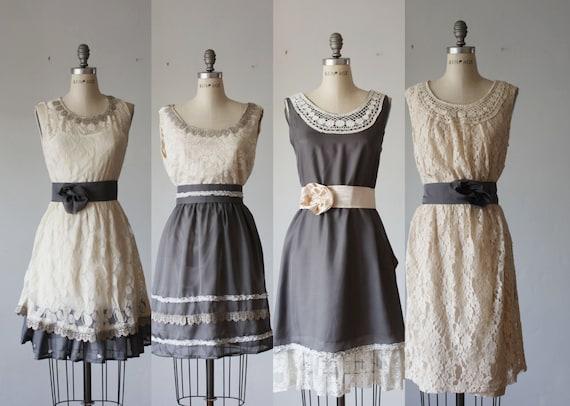 mismatched bridesmaid dresses / Bridesmaid / Romantic / gray /lace /vintage  / Fairy / Dreamy / Bridesmaid / Party / wedding / Bride