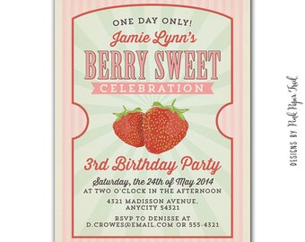 Berry Sweet, Strawberry, Country Fair, Farmers Market Invitation v.2, Customizable Wordings, Printable Digital File