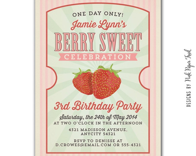 Berry Sweet, Strawberry, Country Fair, Farmers Market Invitation v.2, Customizable Wordings, Printable Digital File