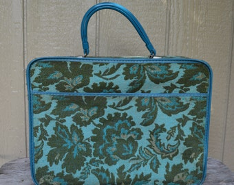1960s Avon Sales Bag Avon House Call Bag Salesman Bag Green Tapestry Fabric Small Carry On Small Floral Suitcase Travel Bag Weekend Bag