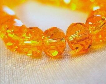 "Brilliant Sun Orange Faceted Rondell Crystal Beads, 6mm x 4mm, 8"" strand, 50 beads"