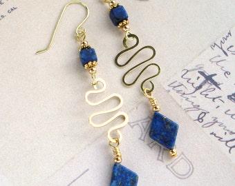 Lapis Lazuli & Brass Wire Earrings