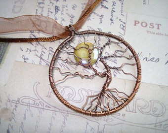 Copper Tree of Life With Moon Necklace Free Shipping