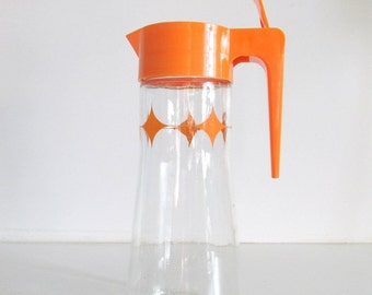 Juice Pitcher, Anchor Hocking, Tang Pitcher, Juice carafe, Juice jug, Orange juice, Glass juice pitcher, Retro kitchen, Mid century modern
