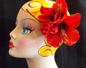 Red Tropical Hibiscus Duet Large Hair Flower Clip, Retro PinUp Hawaiian Bridal Floral Headpiece by Viva Dulce Marina