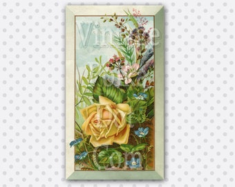 Clip Art Printable Art Victorian Yellow Rose and Wildflowers Vintage Graphics Printable Digital Instant Download Large Image