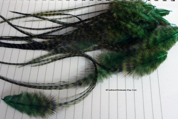 Forest Green Feathers Dark Green Feathers Green Grizzly Feathers Rooster Saddle Long Feathers Green Feathers for Hair Accessories Hats, 12