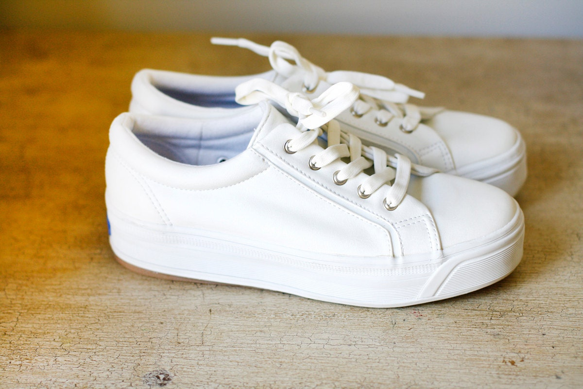 leather white keds
