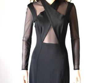 90s Vintage Black Illusion Dress Size Small Medium// Black Body Con 90s Prom Dress Size Small Medium Cache