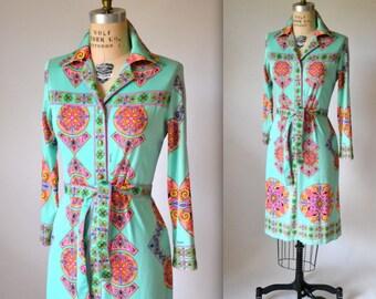Vintage 70s Psychedelic Op art print dress Maurice Dress // Vintage Neon Psychedelic 70s Print Shirt Dress Size Medium