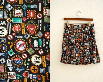 Vintage Silk Wrap Skirt by Nicole Miller with Road Street Signs//  Vintage Pleated Skirt in Silk with Traffic Signs