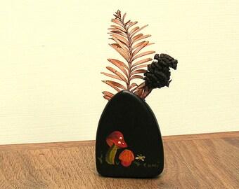 Vintage Miniature Woodland Mushrooms Hand Painted Vase