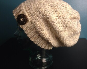 Cream Slouchy Beanie with Carved Coconut Button