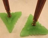 """Reserved for """"ojodelacara"""".... Pair of bakelite and jadeite lamp bases nice art deco appeal"""