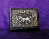 Vintage Chinese Mother of Pearl Inlaid Wood Trinket Box with Tiger