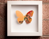Pin-up: Framed Paper Butterfly with Red-Haired Pin-up Girl