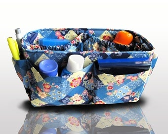 Purse Organizer Insert / Bag Organizer Holiday Gift  / Blue Floral /  Medium 22x8cm
