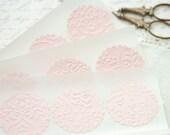 Wedding Stickers Seals -  25 Embossed Pink French Lace Elegant Seals For Envelopes Gift Wrap Favor Bags :  Wedding Envelope Seals