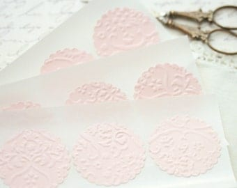Wedding Stickers Seals -  25 Embossed Pink French Lace Elegant Seals For Envelopes Gift Wrap Favor Bags :  Wedding Envelope Seals