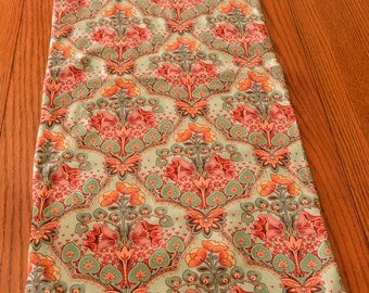 Table Runner double sided- green and pink Indian floral - 35 by 14.5