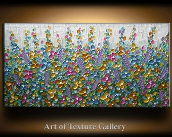 Abstract Texture Painting 48 x 24 Original Custom Texture Carved Sculpture Flowers Blue Copper Gold Green Modern Metallics Oil by Je Hlobik