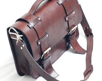 Leather Briefcase, Leather laptop bag, Leather Satchel, Weekender bag, Leather shoulder bag  - Made in USA