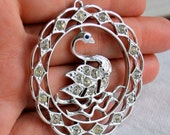 Sarah Coventry Book Piece Stunning Swan Lake Pendant with Rhinestones
