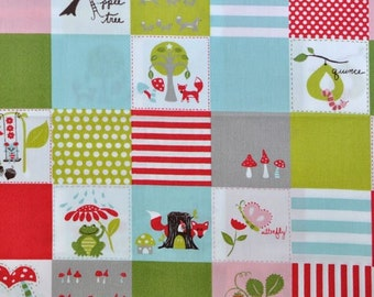 Organic - Happy Patch - FOX HOLLOW - Monaluna Organic Cotton Fabric - Jennifer Moore -  1 Yard