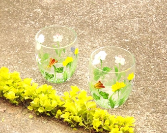 Flower Glasses, Hand Painted Glasses, Set of 2 Floral Tumblers, Small Glass Cups