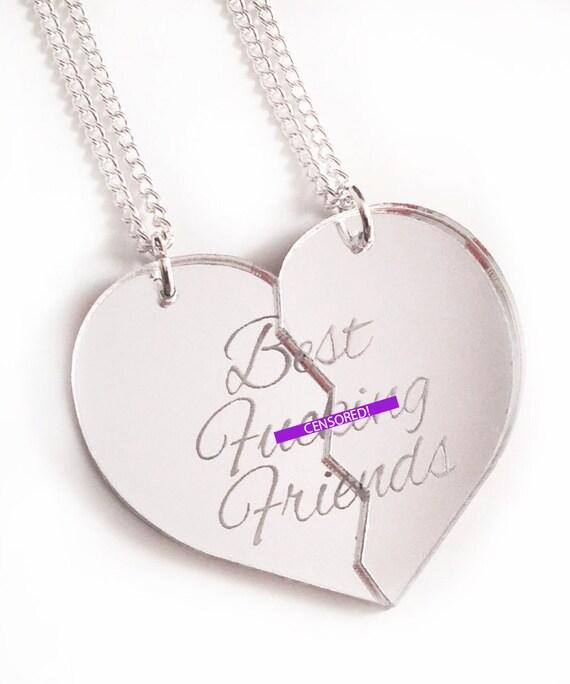 Best F-cking Friends - Friendship Necklace Set - Silver Split Heart