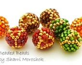 8mm Round Beaded Beads - earring pairs spacer beads - autumn holiday red green gold brown orange