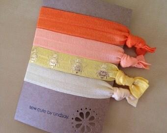 Elastic hair tie set - Ponytail holder/bracelet - orange/yellow ombré - orange, cantaloupe, yellow bees, pale yellow