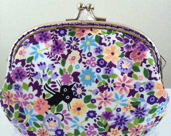 Free Shipping - Handmade Coin Purse Cats in purple garden