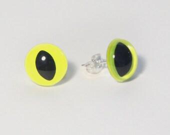 Neon Yellow Kitty Eye Earrings