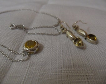 Vintage Citrine Sterling Silver Necklace and Earrings