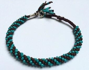 Beaded Kumihimo Bracelet- brown & turquoise swirl