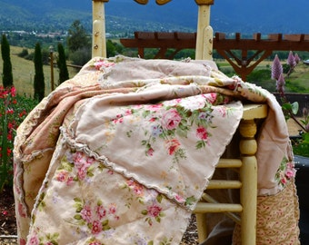 Shabby Chic Belgian Linen And Cotton Rag Quilted Throw Lightweight Summer Bedding