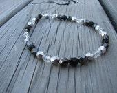 Ankle Bracelet- Metallic Hematite, Silver, Black, Clear Beaded Ankle Bracelet