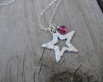 Textured Star Necklace with an accent bead of your choice