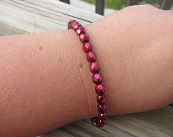 Layering Bracelet- Metallic Red Beaded Bracelet