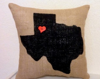 State Pillow, Burlap State Pillow, Hometown Pillow, City Pillow, Burlap Pillow, Texas Pillow, Housewarming Gift, Wedding Gift, Moving Gift