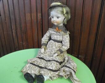 Vintage Handmade Porcelain Doll Laura Ingalls Wilder Era Style