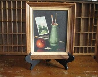 Mid Century Still Life Painting Oil Painting Artist Studio with Apple Vintage Signed Art