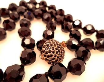 Vintage LES BERNARD Faceted Black Glass Bead Necklace
