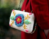 Clutch Flowers  - knitted in white and embroidered in funny colors. SALE (Was 100 now 75)