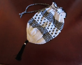 Custom order: Knitted Civil War reproduction cotton reticule
